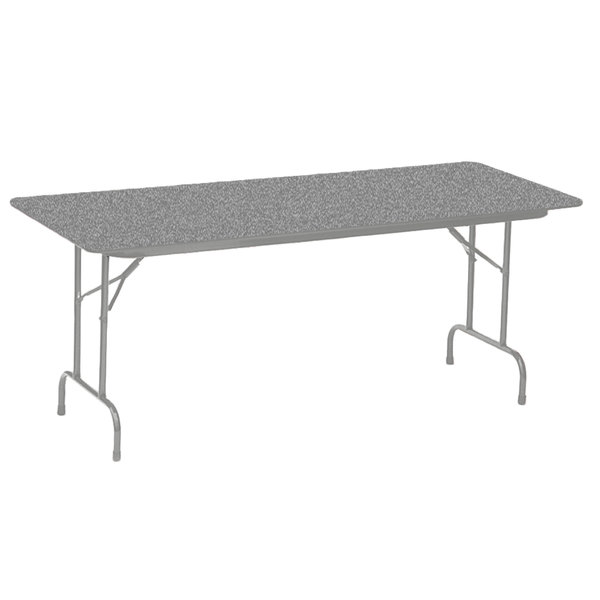 "Correll CF3096PX15 30"" x 96"" Rectangular Gray Granite High Pressure Heavy Duty Folding Table"