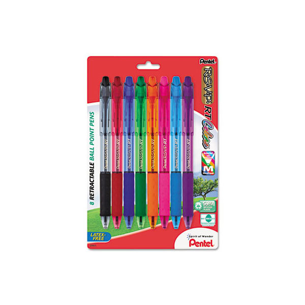Pentel BK93CRBP8M R.S.V.P. RT Assorted Ink Color with Clear Barrel 1mm Retractable Ballpoint Pen - 8/Pack