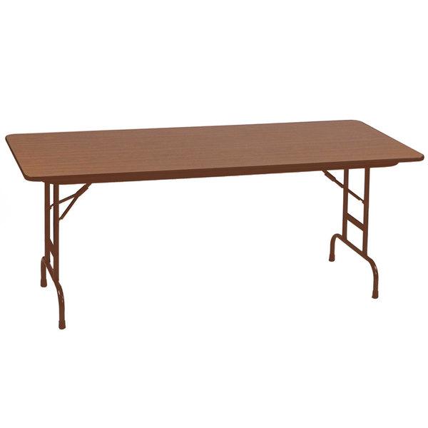 "Correll CFA3072PX06 30"" x 72"" Rectangular Medium Oak High Pressure Heavy Duty Adjustable Folding Table"