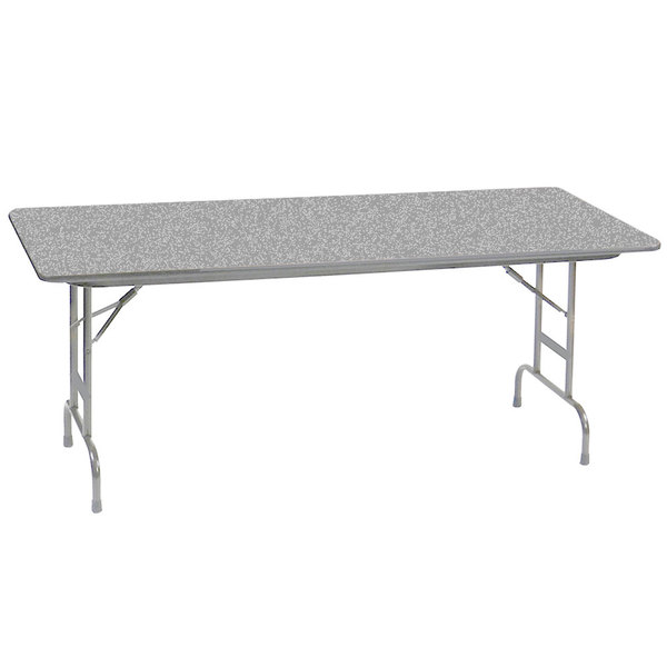 "Correll CFA3096PX15 30"" x 96"" Rectangular Gray Granite High Pressure Heavy Duty Adjustable Folding Table Main Image 1"
