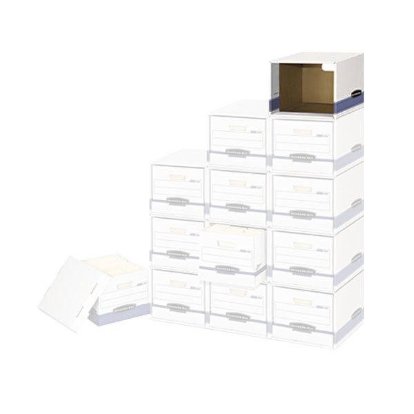 "Fellowes 0162601 12"" x 15"" x 10"" White/Blue Legal/Letter Sized Filing Box Shell - 6/Case"