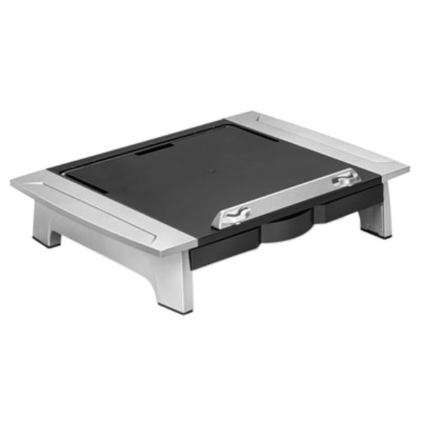 "Fellowes 8036601 19 7/8"" x 14 1/16"" x 6 1/2"" Black / Silver Monitor Riser with Drawer and Copyholder Main Image 1"