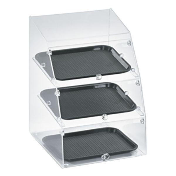"Vollrath MBC1014-3F-06 Medium Classic 3 Tray Acrylic Bakery Display Case with Front Doors - 14 1/2"" x 17"" x 21"""