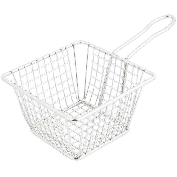 "5"" Square Stainless Steel Fry Basket"