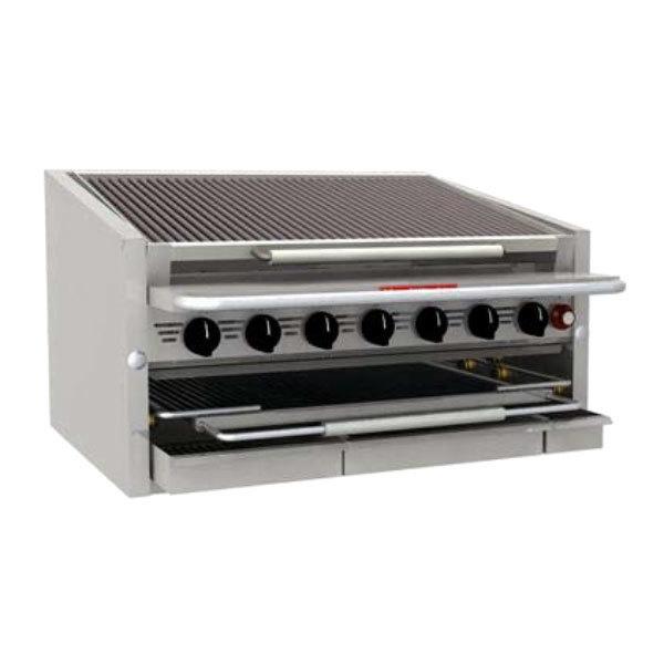"MagiKitch'n CM-SMB-648-H 48"" Liquid Propane High Output Countertop Lava Rock Charbroiler - 200,000 BTU"
