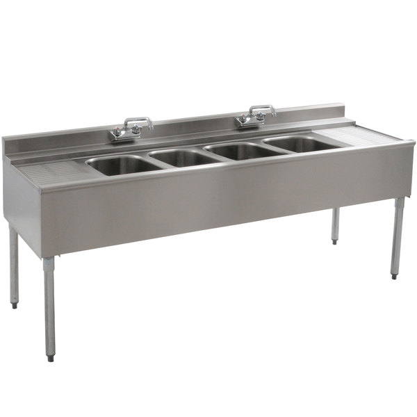 """Eagle Group B6C-4-22 72"""" Underbar Sink with Four Compartments, Two Drainboards, and Two Faucets"""
