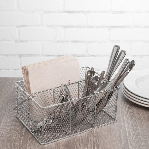 Clipper Mill by GET WB-700 Chrome Plated Iron Flatware Caddy - 9 3/8 ...