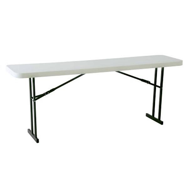 """Lifetime 80177 18"""" x 96"""" Rectangular White Granite Plastic Folding Seminar Table - 5/Pack"""