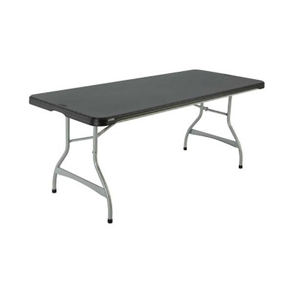 "Lifetime 880350 30"" x 72"" Rectangular Black Plastic Nesting Folding Table - 26/Pack Main Image 1"