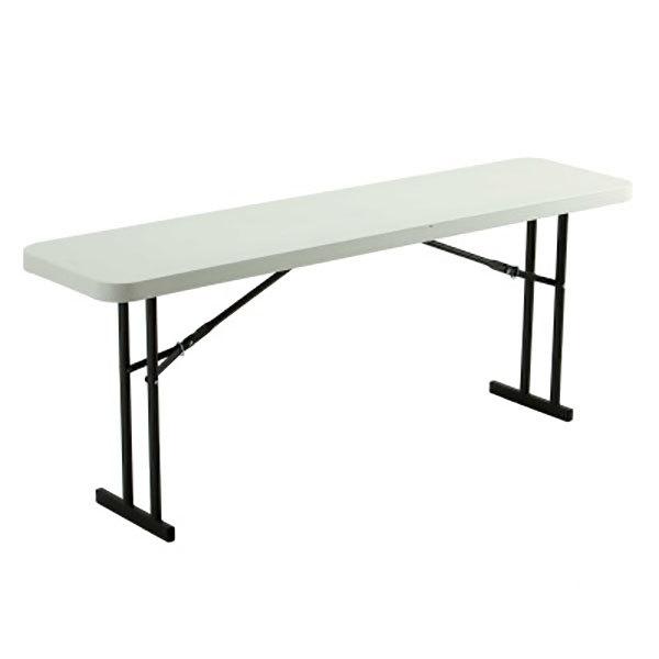 "Lifetime 580176 18"" x 72"" Rectangular White Granite Plastic Folding Seminar Table - 5/Pack Main Image 1"