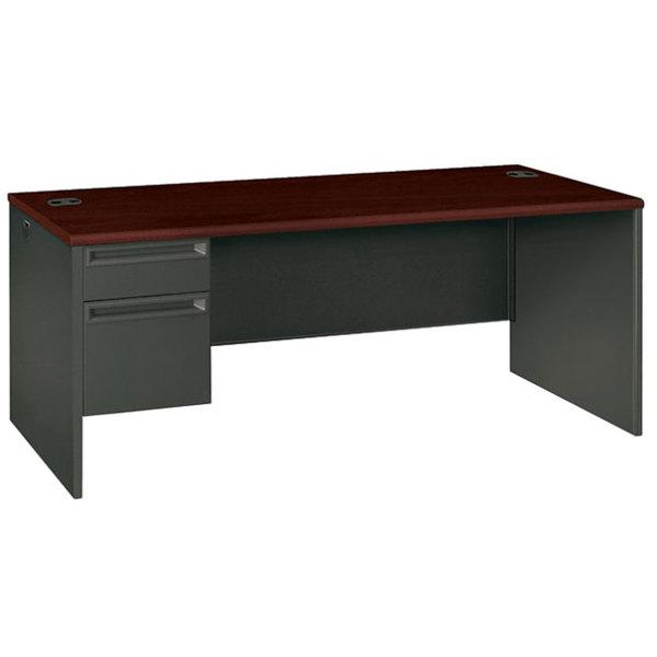 """HON 38294LNS 38000 Series 72"""" x 36"""" x 29 1/2"""" Mahogany/Charcoal Metal Left Pedestal Desk Main Image 1"""