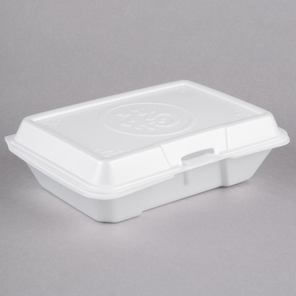 Dart 206HT1PR 9 inch x 6 inch x 3 inch White Foam Shallow Rectangular Take Out Container with Perforated Hinged Lid and Embossed Prosperity Design - 200/Case