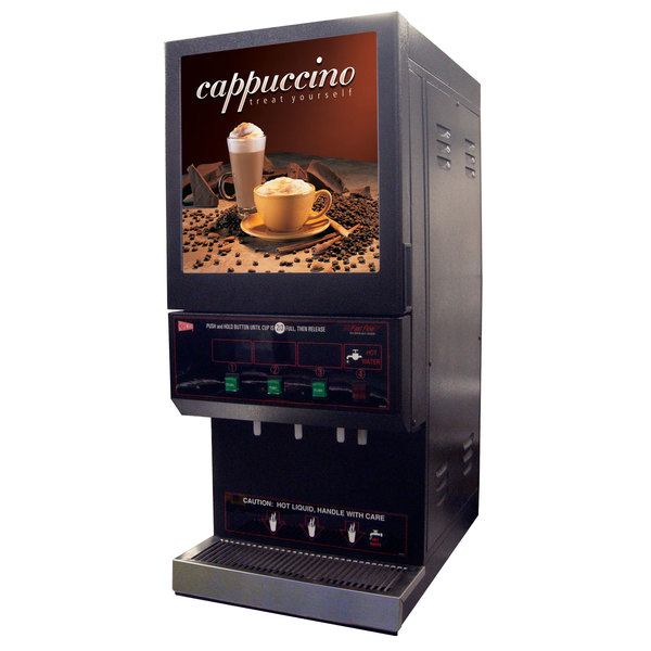 Cecilware GB3M10-LD-U Feature Flavor Series Triple Hopper Powdered Cappuccino Dispenser with Illuminated Vertical Lift Front - 120V