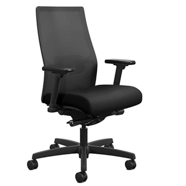HON LWU2ACU10 Endorse Upholstered Black Mid-Back Work