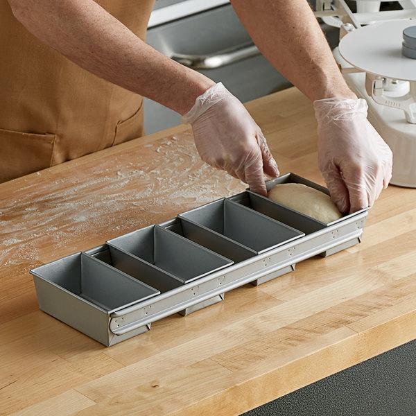 "3/8 lb. 4-Strap Glazed Aluminized Steel Bread Loaf Pan - 5 5/8"" x 3 1/8"" x 2 3/16"" Cavities Main Image 2"