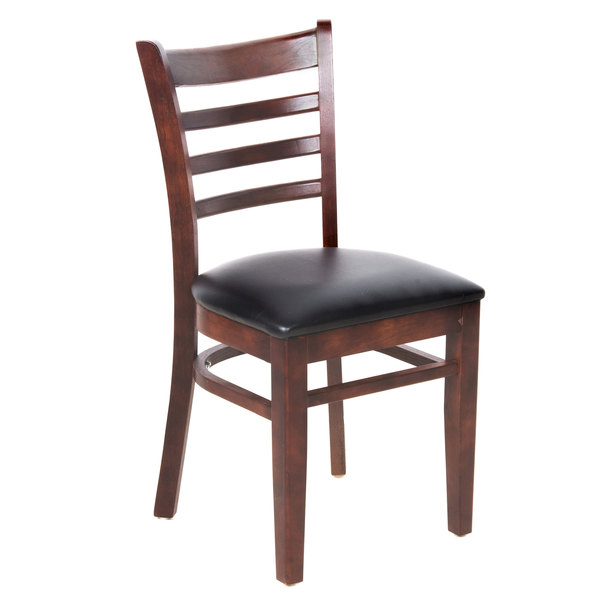 """Preassembled Lancaster Table & Seating Mahogany Finish Wooden Ladder Back Chair with 2 1/2"""" Padded Seat"""