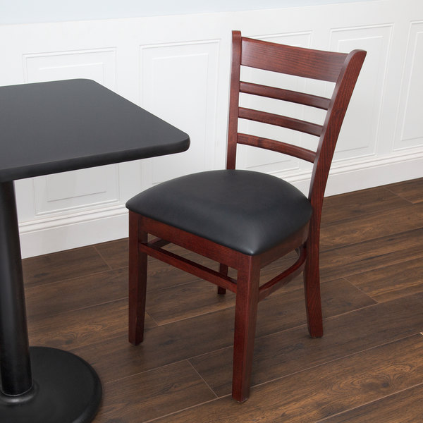"Preassembled Lancaster Table & Seating Mahogany Finish Wooden Ladder Back Chair with 2 1/2"" Padded Seat"