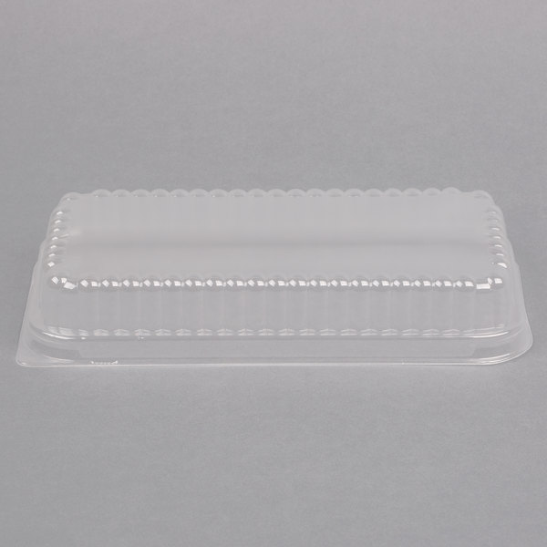D&W Fine Pack 37564 Clear Dome Lid for 1 1/2 lb. Aluminum Foil Loaf Pan - 500/Case
