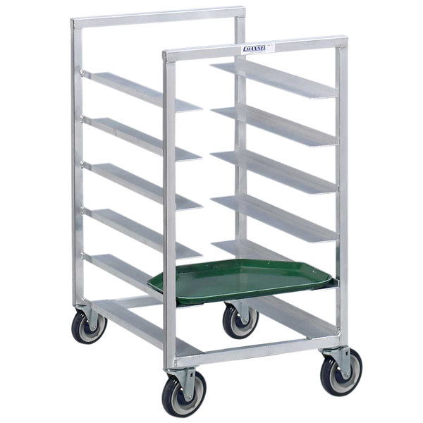 Channel T437A3 20 Tray Bottom Load Aluminum Trapezoidal Cafeteria Tray Rack - Assembled