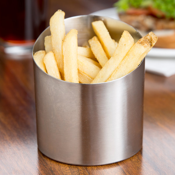 "Tablecraft R44 4"" Brushed Stainless Steel Angled French Fry Cup Main Image 7"