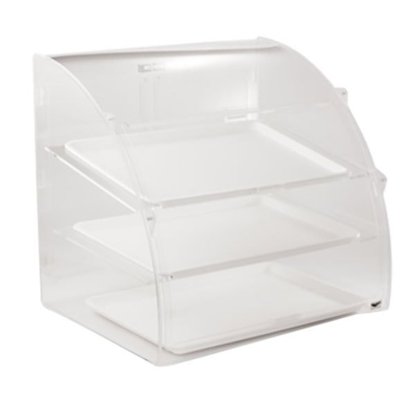 """Vollrath EMBC-2 Medium 3 Tray Euro Curved Front Acrylic Bakery Display Case with Front and Rear Doors - 21 1/8"""" x 18 3/4"""" x 21 1/2"""""""