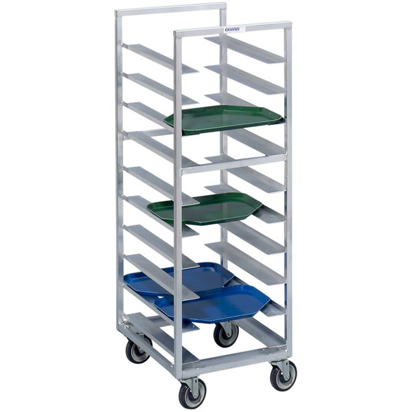 Channel T446A6 28 Tray Bottom Load Aluminum Trapezoidal Cafeteria Tray Rack - Assembled
