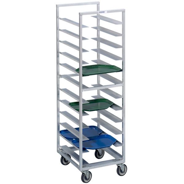 Channel T437A 40 Tray Bottom Load Aluminum Trapezoidal Cafeteria Tray Rack - Assembled