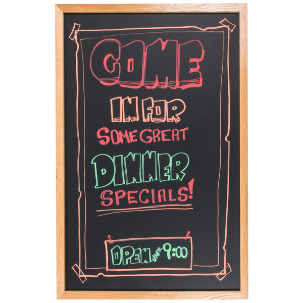 """Aarco OC2436NT-B OAK/BOXED 24"""" x 36"""" Oak Frame Black Chalk Board"""