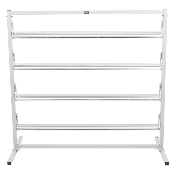 """Bulman T369R-48 48"""" Four Deck Tower Paper Rack with Straight Edge Blade"""