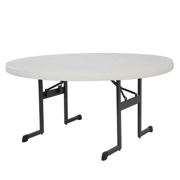 "Lifetime 880313 60"" Round Almond Professional-Grade Plastic Folding Table - 10/Pack"