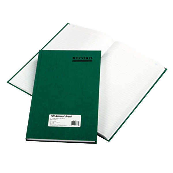 "National 56131 Emerald Series 12 1/4"" x 7 1/4"" Green Account Book - 300 Pages"