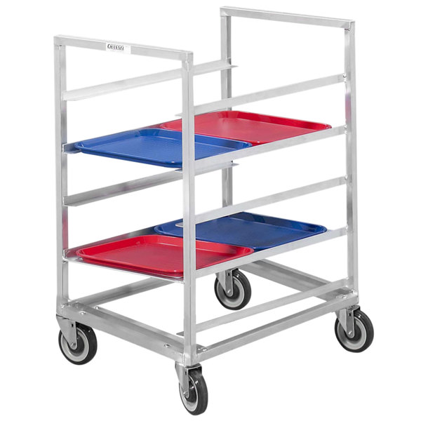 Channel 447A3 12 Tray Bottom Load Aluminum Cafeteria Tray Rack - Assembled