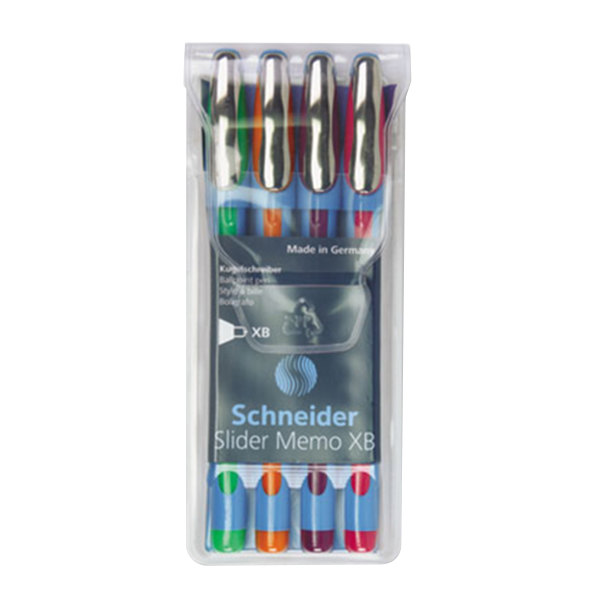 Stride 150295 Schneider Slider Memo XB Assorted Ink with Assorted Barrel Color 1.4mm Ballpoint Stick Pen - 4/Set Main Image 1