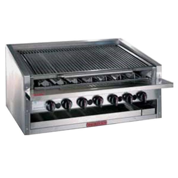 "MagiKitch'n APM-RMBCR-624 24"" Liquid Propane Low Profile Cast Iron Radiant Charbroiler - 60,000 BTU Main Image 1"