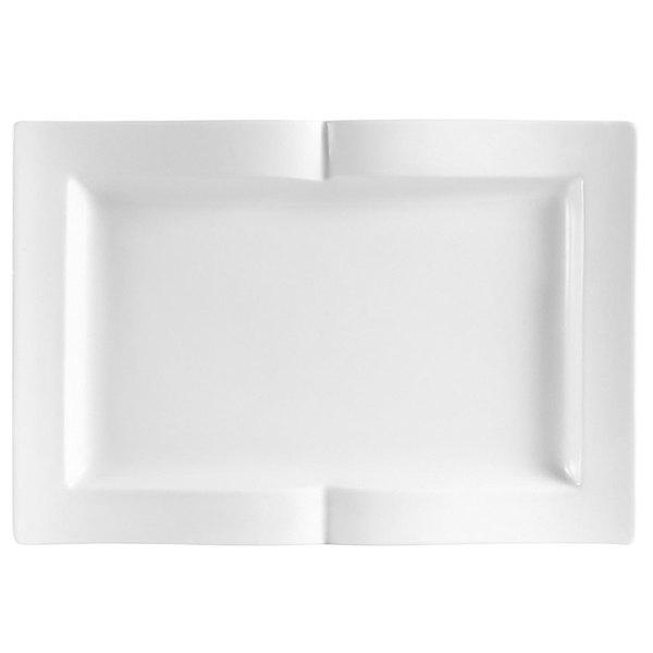 "CAC GBK-13 Goldbook Bone White Book-Shaped China Serving Platter 12"" x 8 1/8"" - 12/Case Main Image 1"