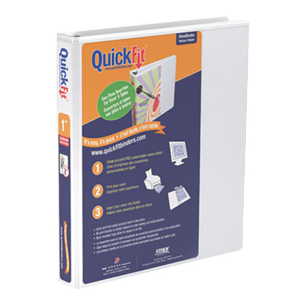 "Stride 88010 QuickFit White View Binder with 1"" Round Rings"