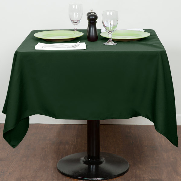 """54"""" x 54"""" Forest Green 100% Polyester Hemmed Cloth Table Cover"""