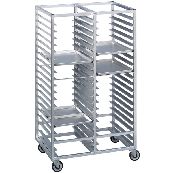 Channel 458A 60 Tray Bottom Load Double Aluminum Cafeteria Tray Rack ...