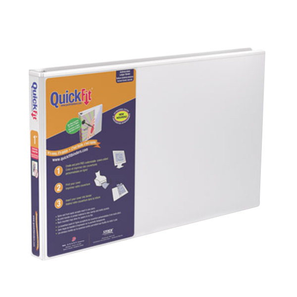 "Stride 94010 QuickFit White View Binder with 1"" Locking Slant Rings Main Image 1"