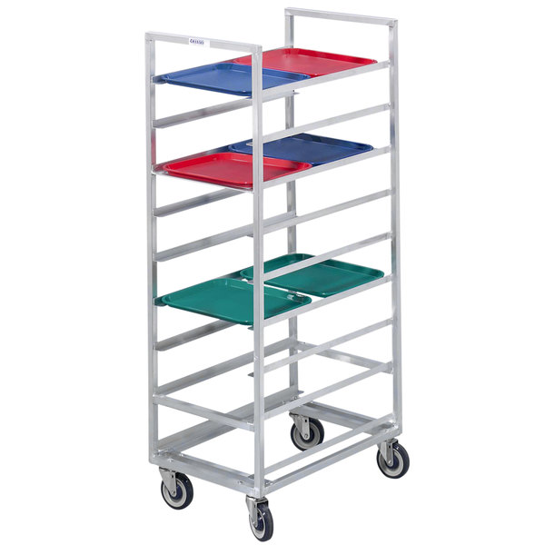 Channel 440S6 18 Tray Bottom Load Stainless Steel Cafeteria Tray Rack - Assembled