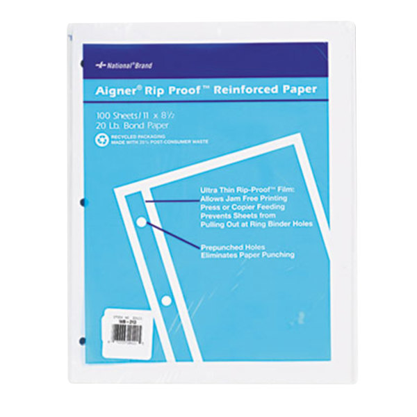 """Rediform Office 20121 8 1/2"""" x 11"""" Pack of Binder / Notebook Unruled Refill Sheet - 100 Sheets"""