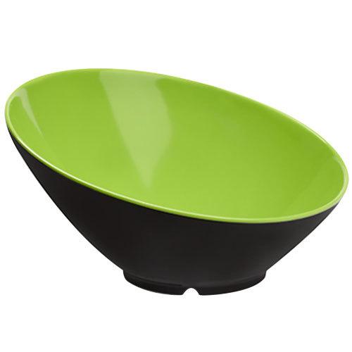 GET B-788-G/BK Brasilia 16 oz. Green and Black Melamine Bowl
