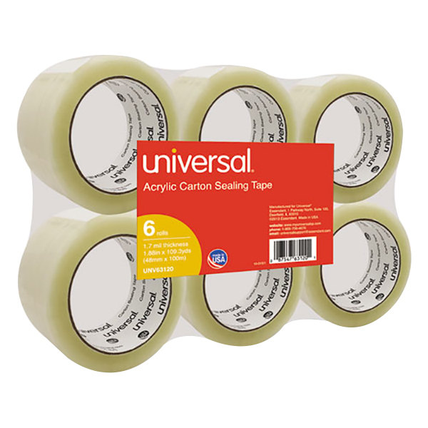 """Universal UNV63120 2"""" x 110 Yards Clear General Purpose Acrylic Box Sealing Tape - 6/Pack"""