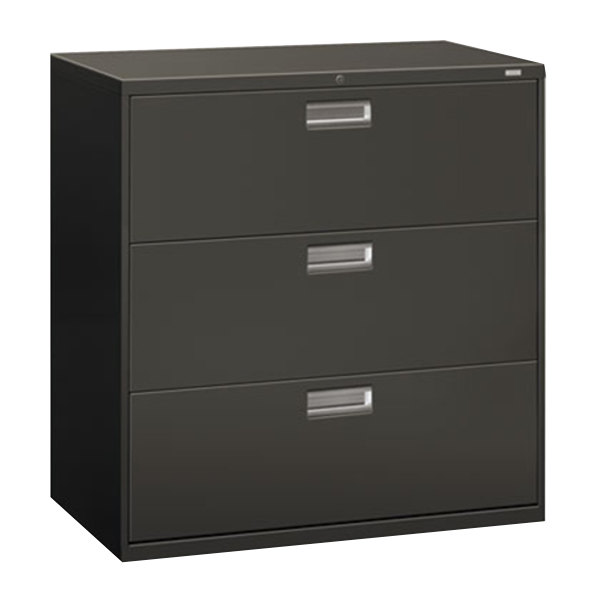 """HON 693LS 600 Series Charcoal Three-Drawer Lateral Filing Cabinet - 42"""" x 19 1/4"""" x 40 7/8"""""""