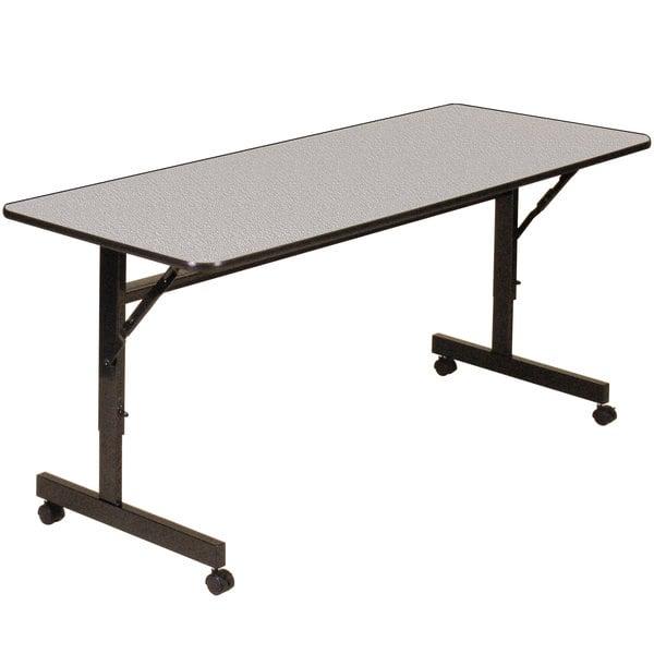 "Correll EconoLine Mobile Flip Top Table, 24"" x 72"" Adjustable Height Melamine Top, Gray - EconoLine"