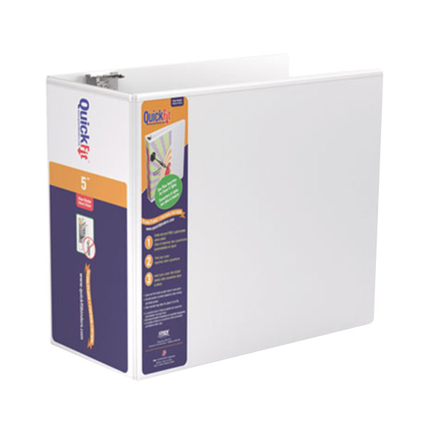 """Stride 87070 QuickFit White View Binder with 5"""" Locking Slant Rings"""
