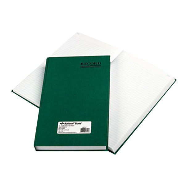 """National 56151 Emerald Series 12 1/4"""" x 7 1/4"""" Green Account Book - 500 Pages"""