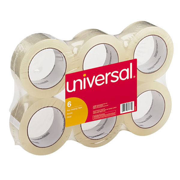 "Universal UNV63500 2"" x 110 Yards Clear General Purpose Acrylic Box Sealing Tape - 6/Pack"