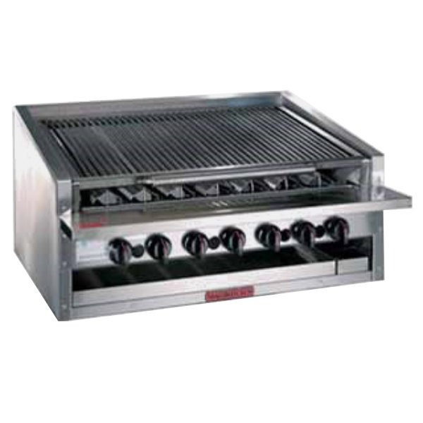 "MagiKitch'n APM-RMBCR-672 72"" Natural Gas Low Profile Cast Iron Radiant Charbroiler - 240,000 BTU"