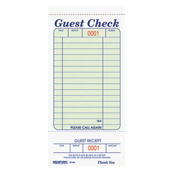 Rediform 5F740 1 Part Green and White Guest Check with Bottom Guest Receipt